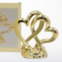 Metallic Gold Finished Double Heart Cake Topper